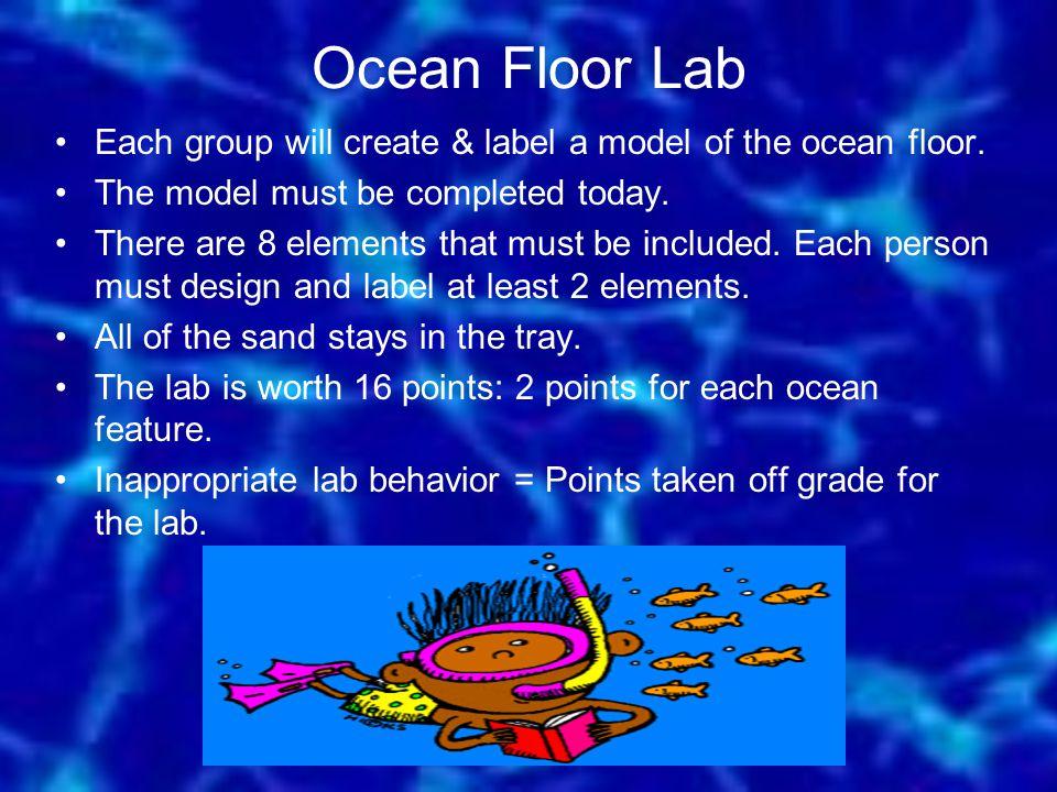Ocean Floor Lab Each group will create & label a model of the ocean floor.