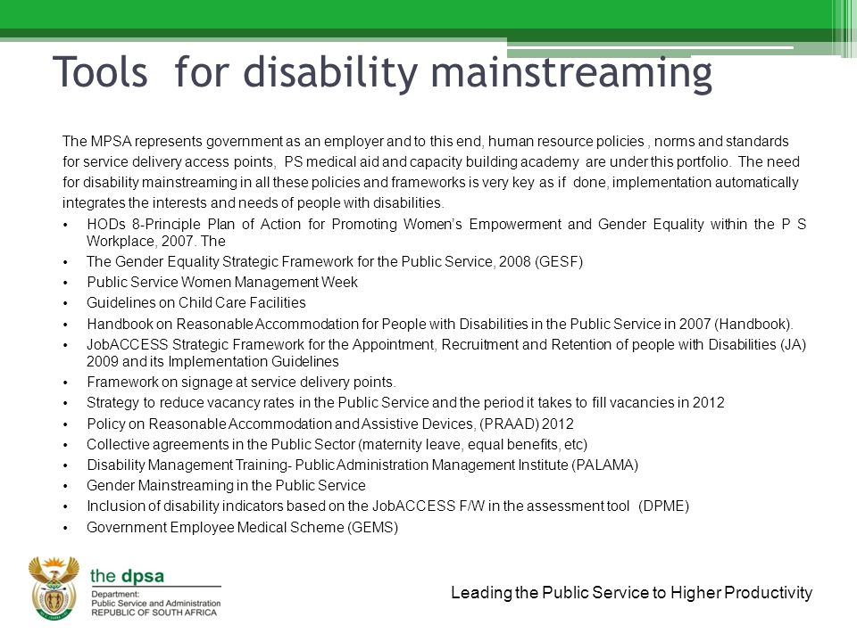Leading the Public Service to Higher Productivity Tools for disability mainstreaming The MPSA represents government as an employer and to this end, human resource policies, norms and standards for service delivery access points, PS medical aid and capacity building academy are under this portfolio.