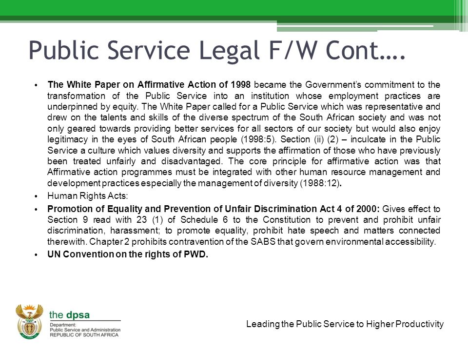 Leading the Public Service to Higher Productivity Public Service Legal F/W Cont….