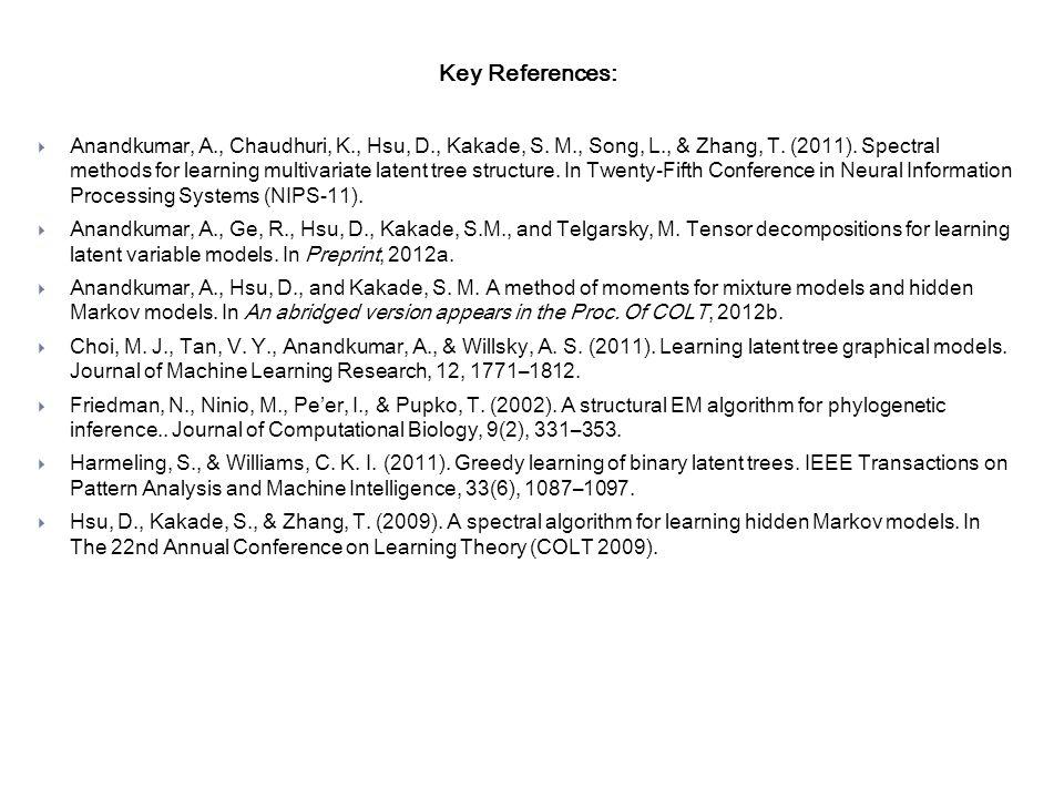 Key References:  Anandkumar, A., Chaudhuri, K., Hsu, D., Kakade, S.