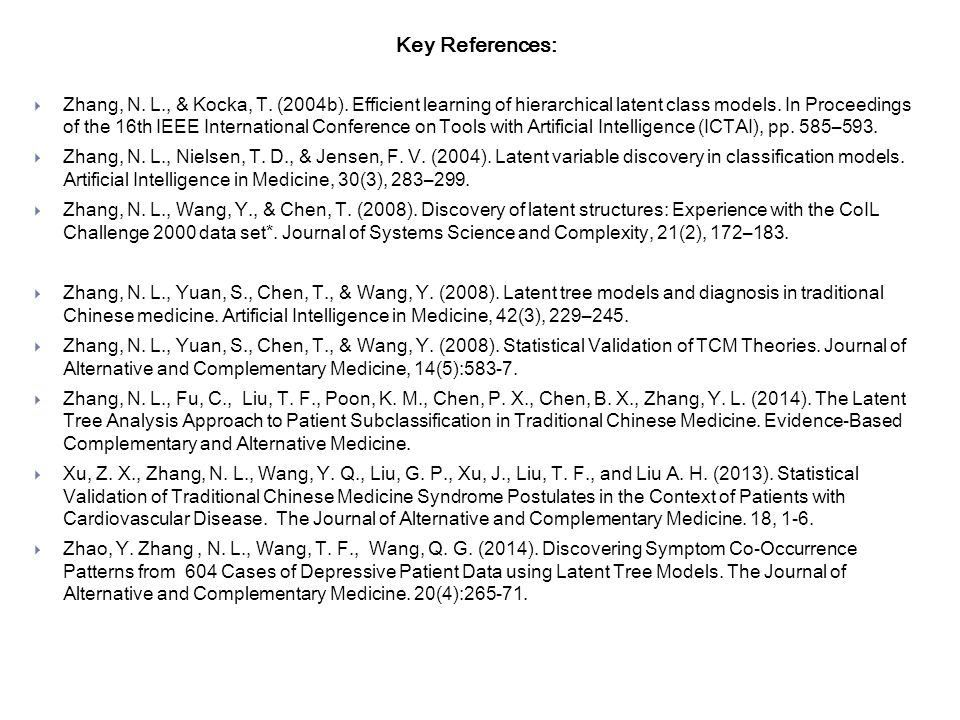 Key References:  Zhang, N. L., & Kocka, T. (2004b).