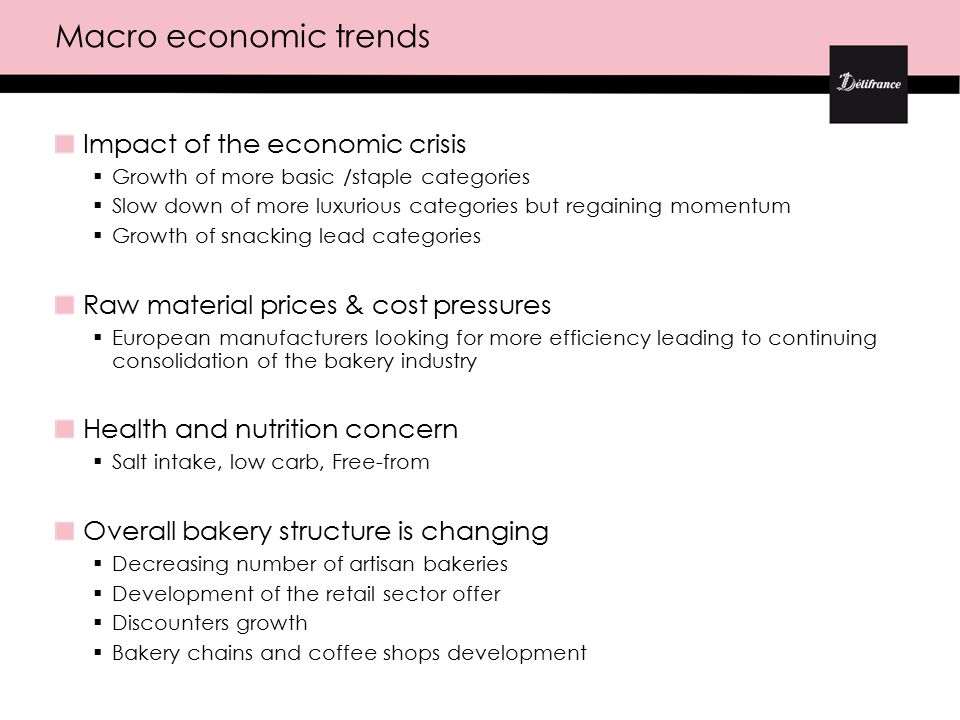 Impact of the economic crisis  Growth of more basic /staple categories  Slow down of more luxurious categories but regaining momentum  Growth of snacking lead categories Raw material prices & cost pressures  European manufacturers looking for more efficiency leading to continuing consolidation of the bakery industry Health and nutrition concern  Salt intake, low carb, Free-from Overall bakery structure is changing  Decreasing number of artisan bakeries  Development of the retail sector offer  Discounters growth  Bakery chains and coffee shops development