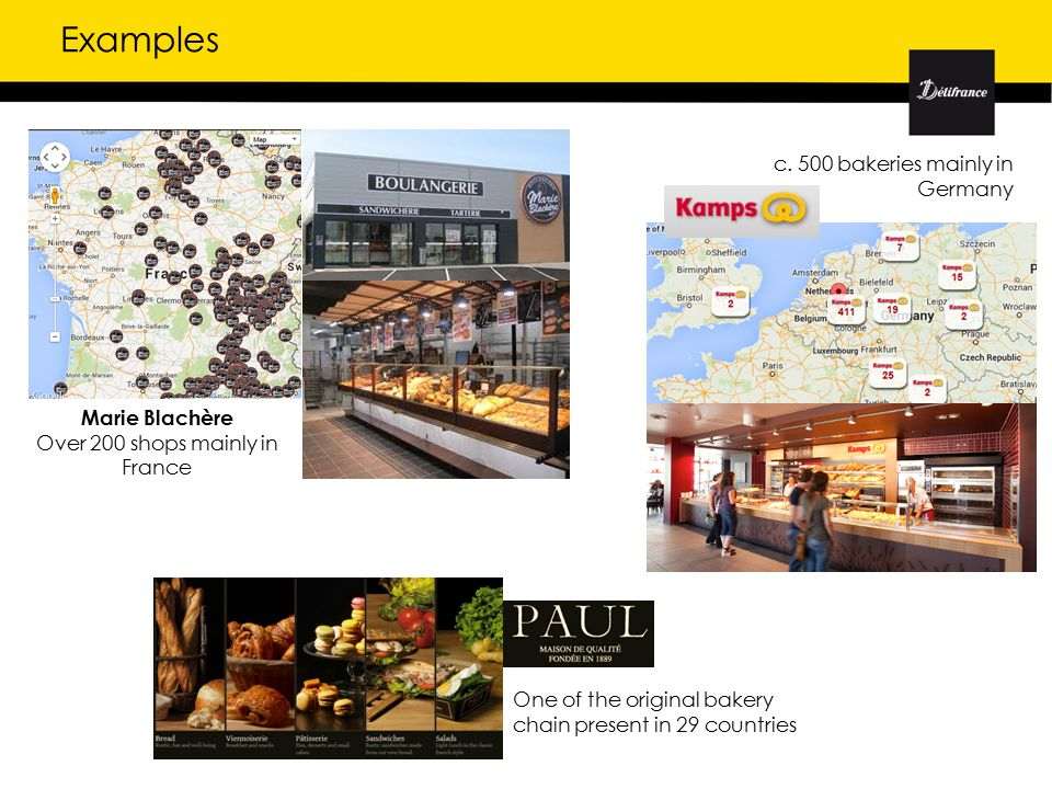 Examples Marie Blachère Over 200 shops mainly in France c.