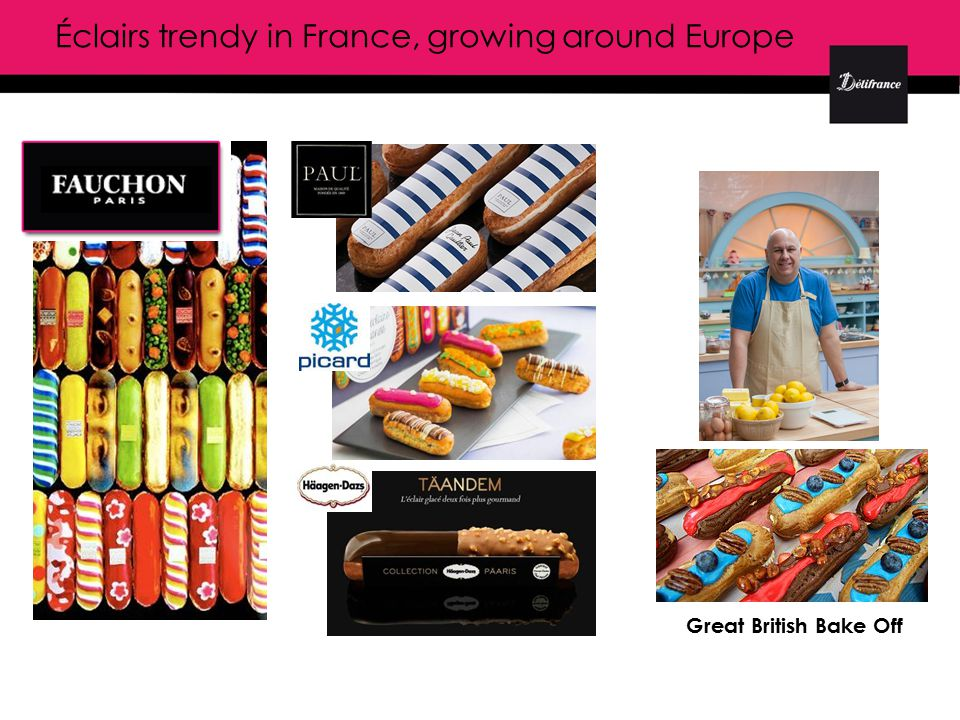 Éclairs trendy in France, growing around Europe Great British Bake Off