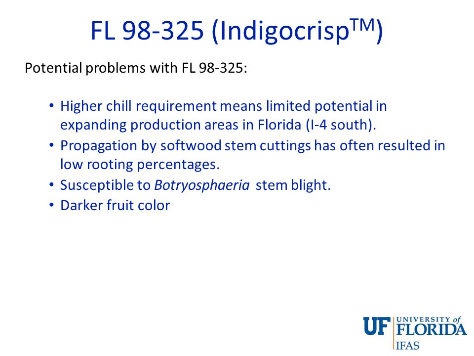Summary FL 98-325 is an early-maturing, crisp genotype which will add another machine harvest for fresh market suitable variety to the short list currently available to Southeastern blueberry growers.