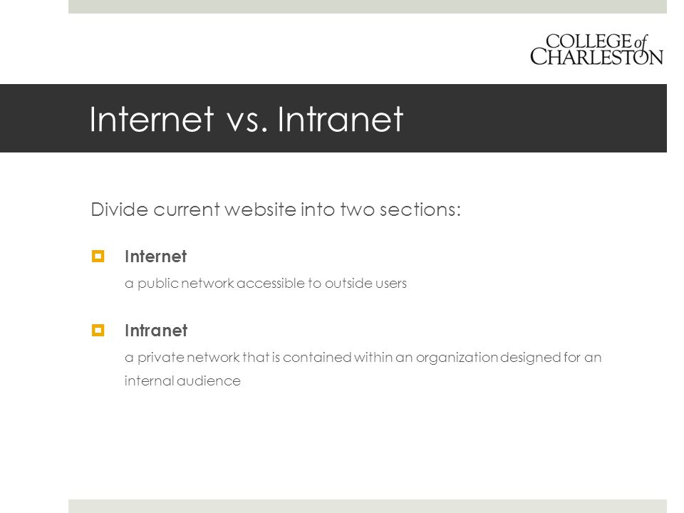 Internet vs. Intranet Divide current website into two sections:  Internet a public network accessible to outside users  Intranet a private network t