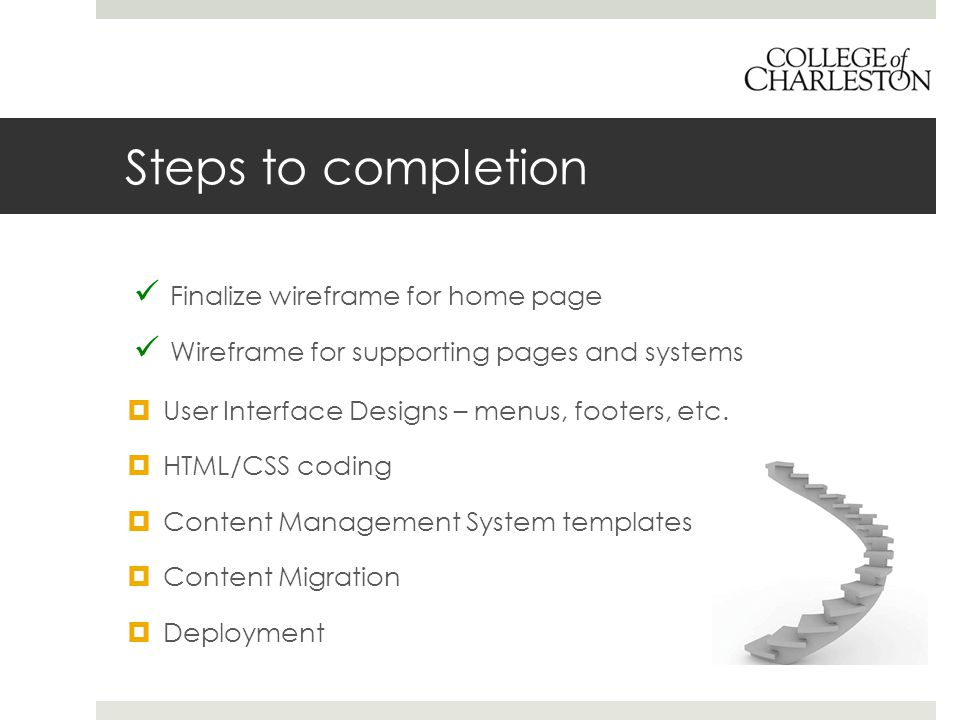 Steps to completion Finalize wireframe for home page Wireframe for supporting pages and systems  User Interface Designs – menus, footers, etc.  HTML