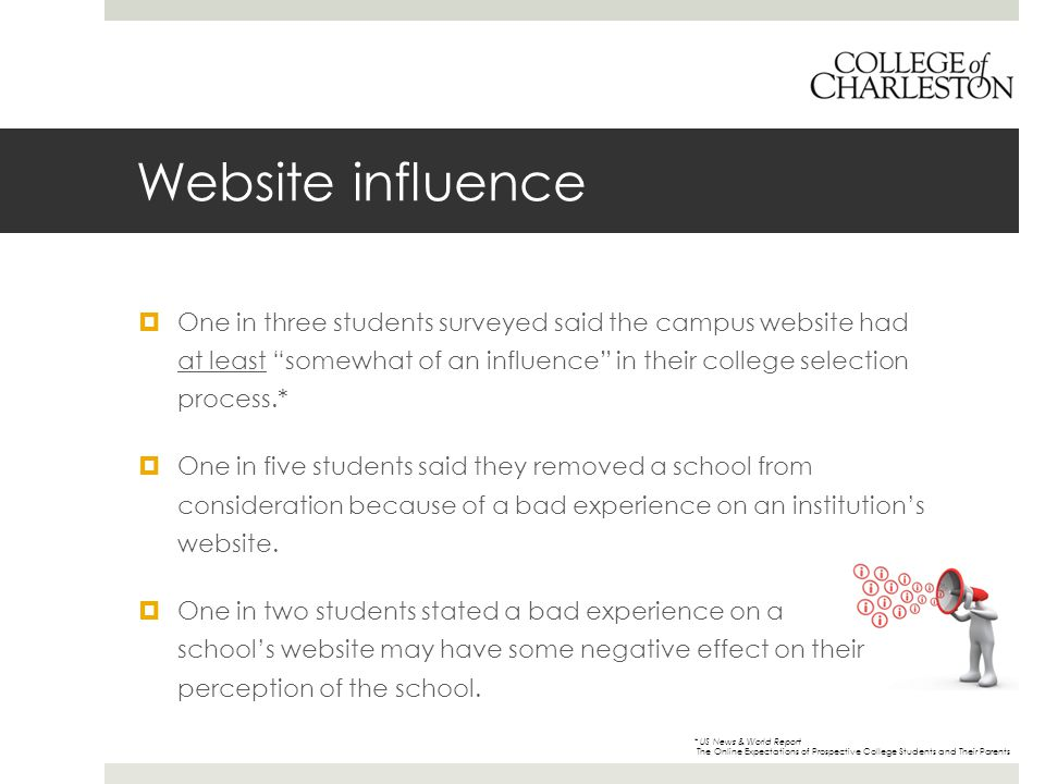 Website influence  One in three students surveyed said the campus website had at least somewhat of an influence in their college selection process.*  One in five students said they removed a school from consideration because of a bad experience on an institution's website.