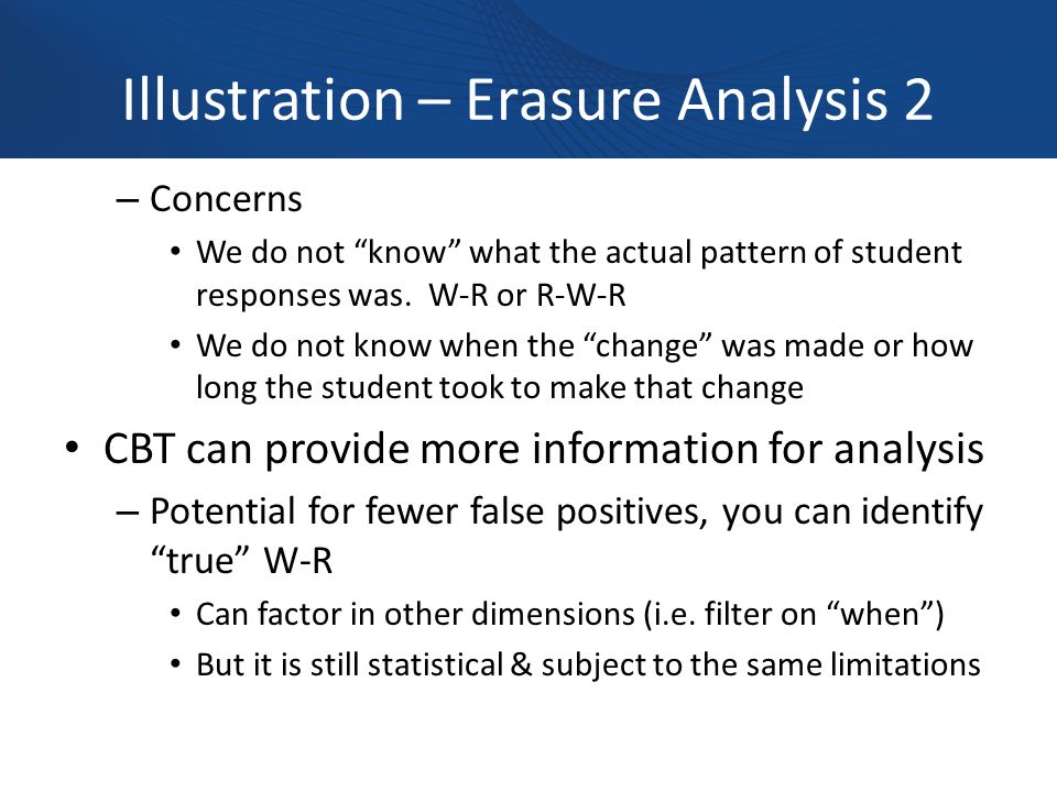 Illustration – Erasure Analysis 2 – Concerns We do not know what the actual pattern of student responses was.