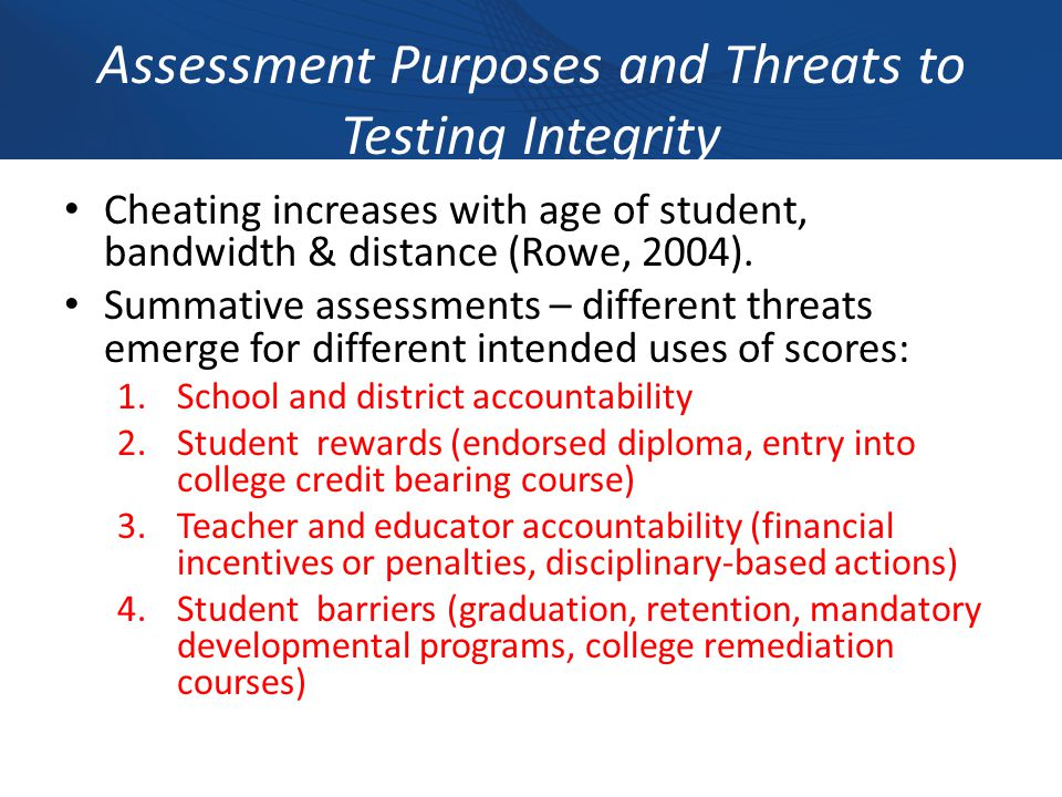 Assessment Purposes and Threats to Testing Integrity Cheating increases with age of student, bandwidth & distance (Rowe, 2004).