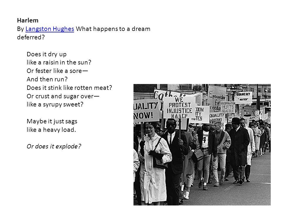 Harlem By Langston Hughes What happens to a dream deferred Langston Hughes Does it dry up like a raisin in the sun.