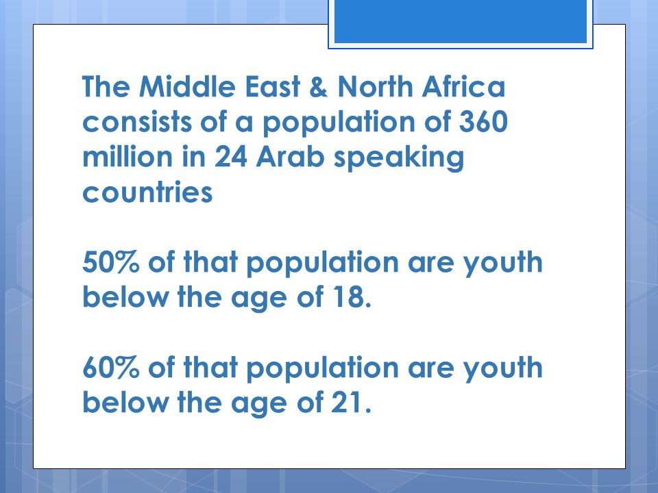 The Middle East & North Africa consists of a population of 360 million in 24 Arab speaking countries 50% of that population are youth below the age of