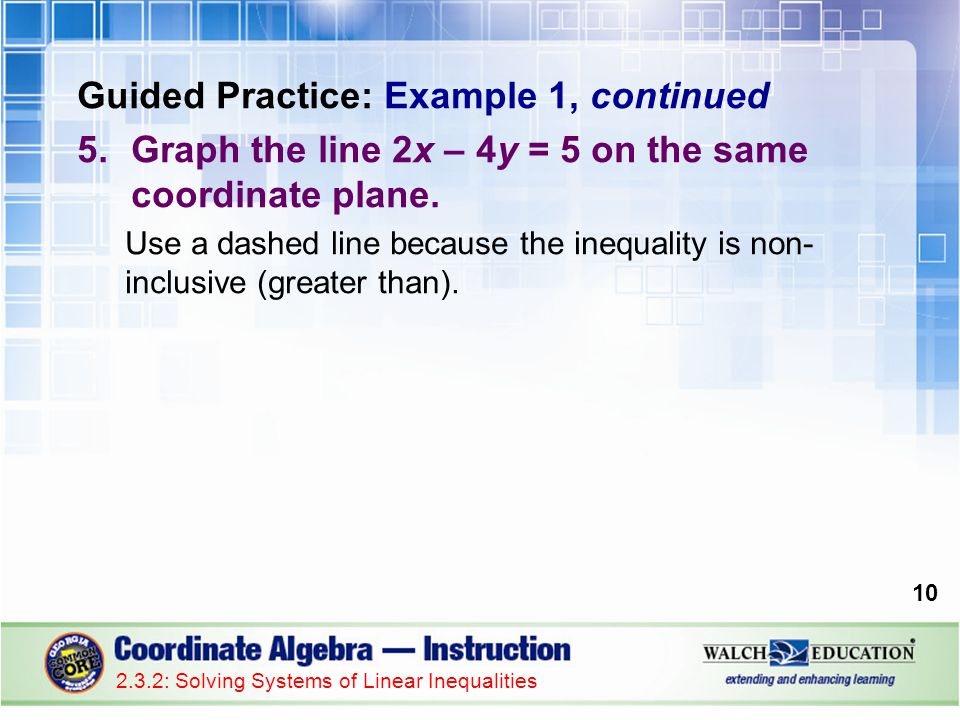 Guided Practice: Example 1, continued 5.Graph the line 2x – 4y = 5 on the same coordinate plane. Use a dashed line because the inequality is non- incl