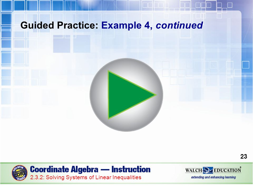Guided Practice: Example 4, continued 23 2.3.2: Solving Systems of Linear Inequalities