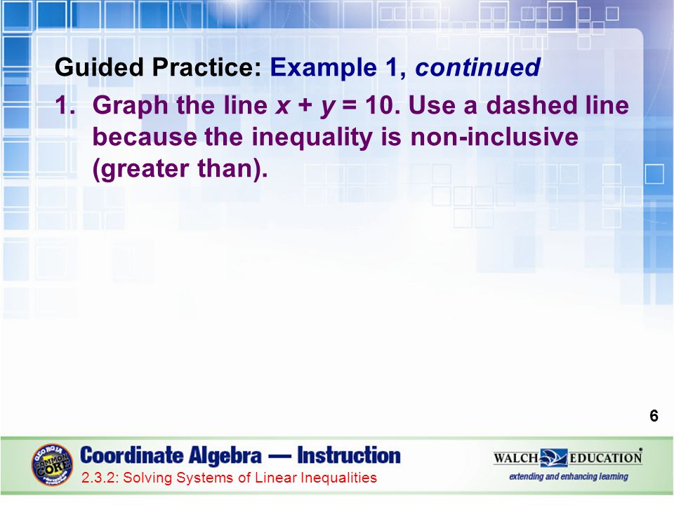 Guided Practice: Example 1, continued 1.Graph the line x + y = 10. Use a dashed line because the inequality is non-inclusive (greater than). 6 2.3.2: