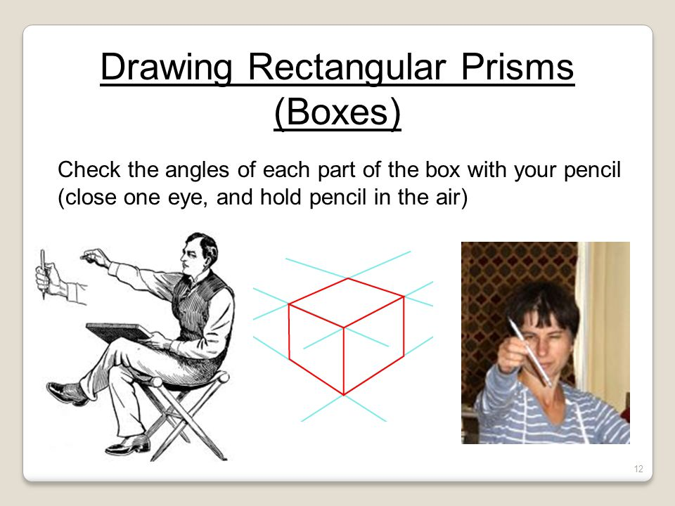 Drawing Rectangular Prisms (Boxes) Check the angles of each part of the box with your pencil (close one eye, and hold pencil in the air) 12