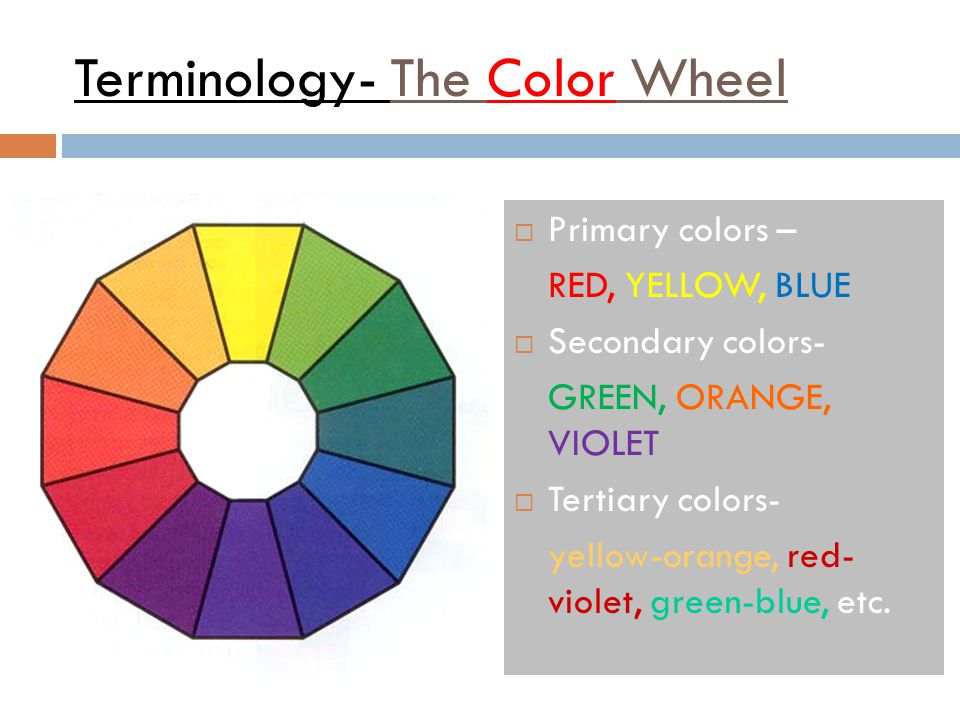Terminology- The Color Wheel  Primary colors – RED, YELLOW, BLUE  Secondary colors- GREEN, ORANGE, VIOLET  Tertiary colors- yellow-orange, red- vio