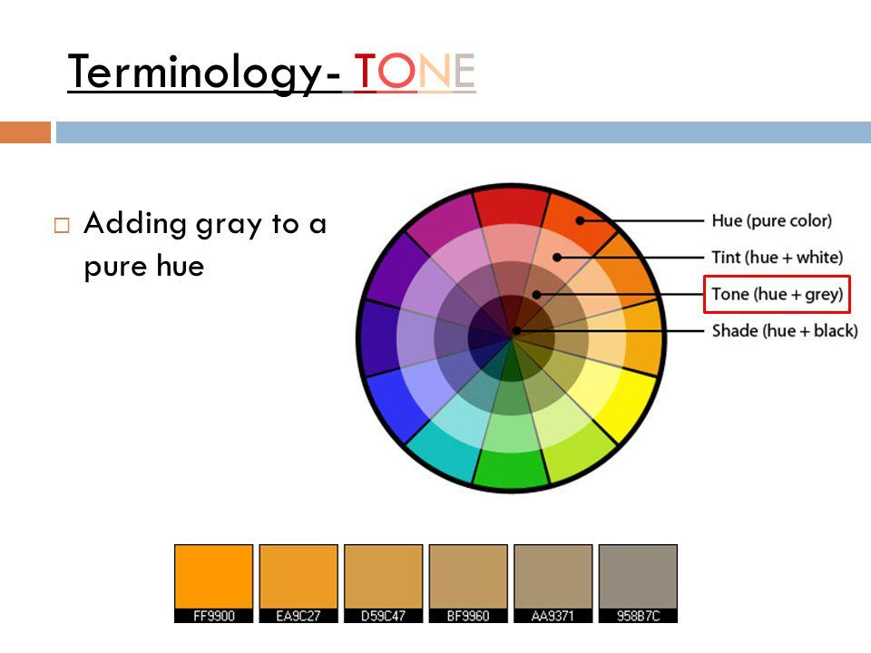 Terminology- TONE  Adding gray to a pure hue