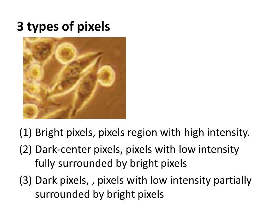 (1)Bright pixels, pixels region with high intensity. (2)Dark-center pixels, pixels with low intensity fully surrounded by bright pixels (3)Dark pixels
