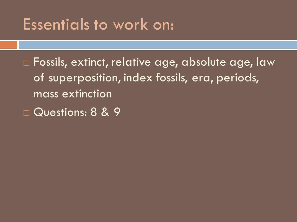 Essentials to work on:  Fossils, extinct, relative age, absolute age, law of superposition, index fossils, era, periods, mass extinction  Questions: