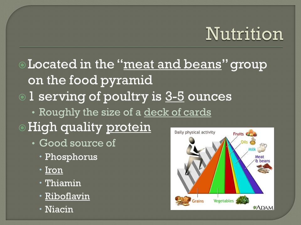  Located in the meat and beans group on the food pyramid  1 serving of poultry is 3-5 ounces Roughly the size of a deck of cards  High quality protein Good source of  Phosphorus  Iron  Thiamin  Riboflavin  Niacin