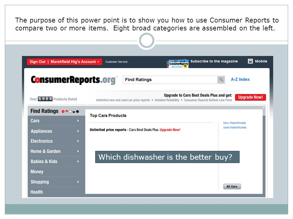 The purpose of this power point is to show you how to use Consumer Reports to compare two or more items.