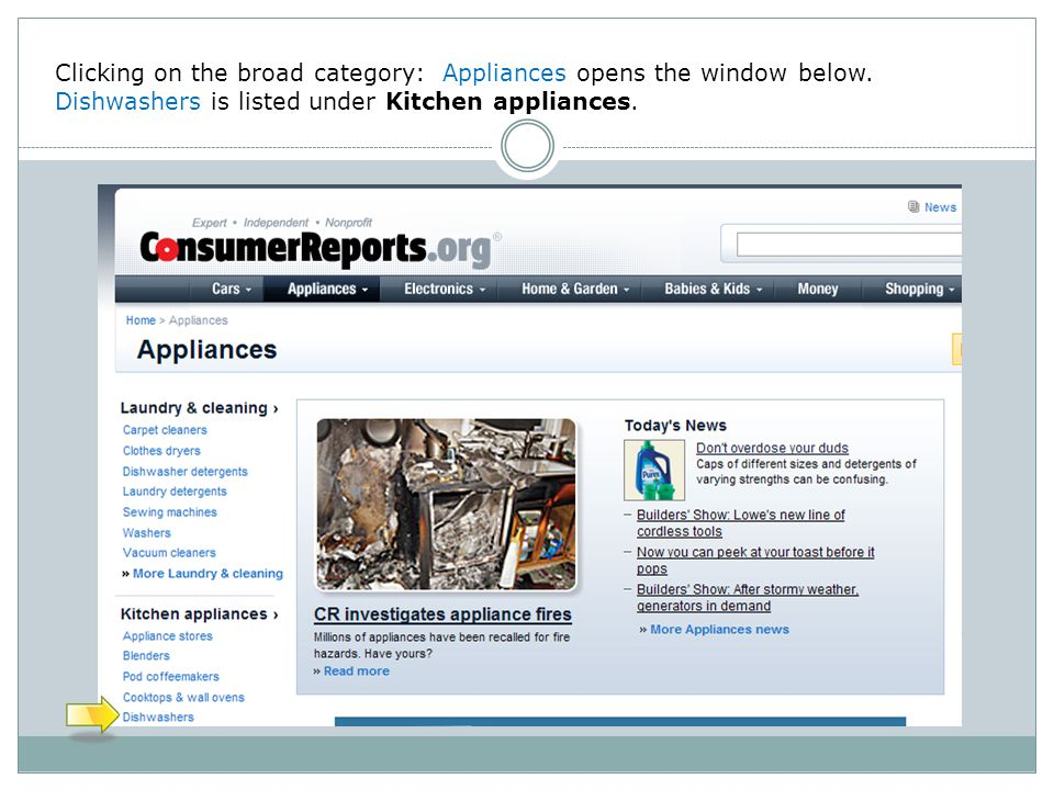 Clicking on the broad category: Appliances opens the window below.