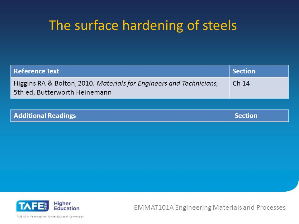 TAFE NSW -Technical and Further Education Commission The surface hardening of steels EMMAT101A Engineering Materials and Processes Reference TextSection Higgins RA & Bolton, 2010.