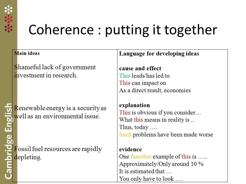 Coherence : putting it together Main ideas Shameful lack of government investment in research. Renewable energy is a security as well as an environmen