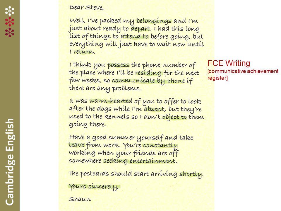 FCE Writing [ communicative achievement register]