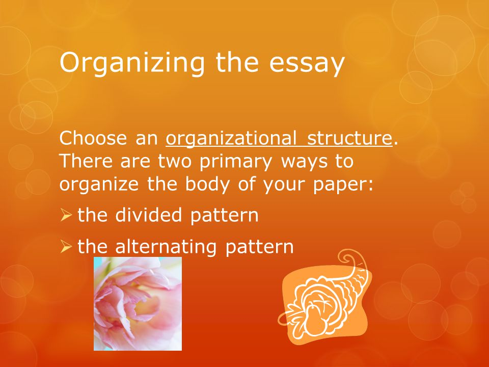 Organizing the essay Choose an organizational structure. There are two primary ways to organize the body of your paper:  the divided pattern  the al