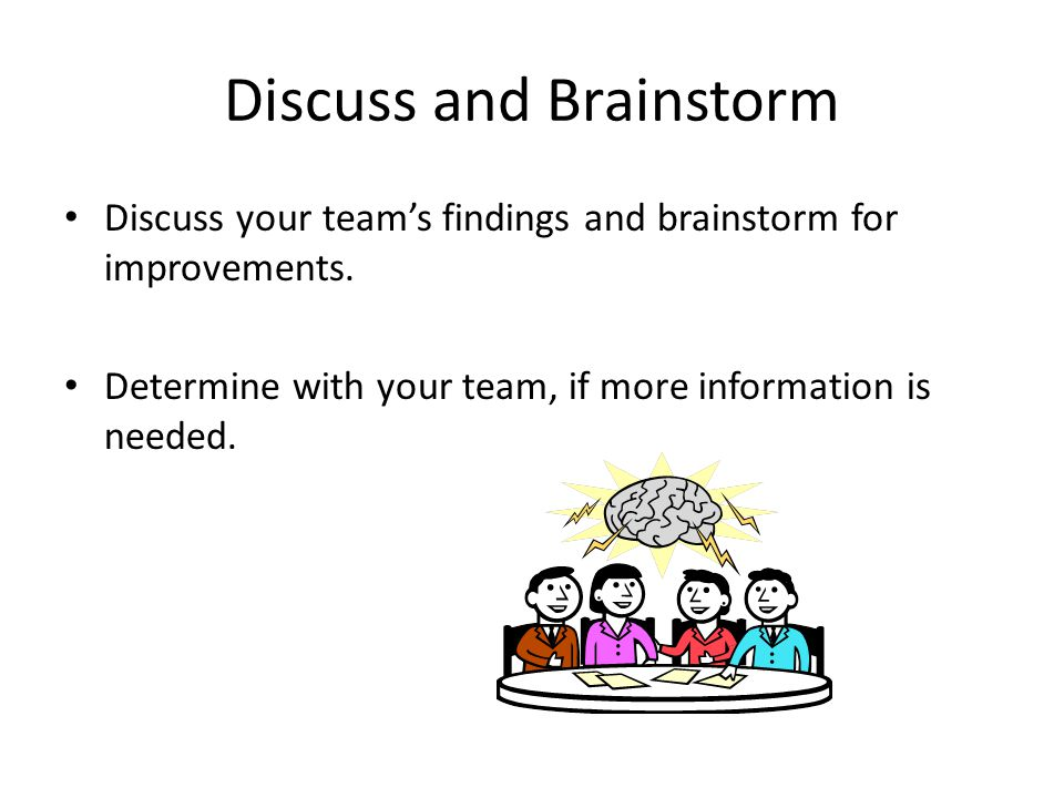 Discuss and Brainstorm Discuss your team's findings and brainstorm for improvements.
