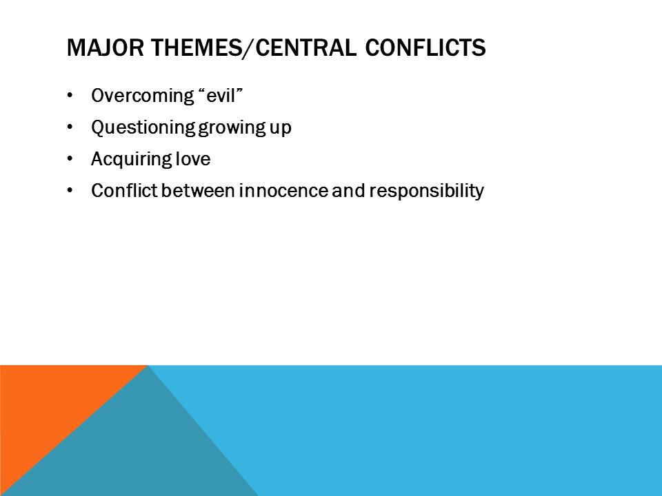 """MAJOR THEMES/CENTRAL CONFLICTS Overcoming """"evil"""" Questioning growing up Acquiring love Conflict between innocence and responsibility"""