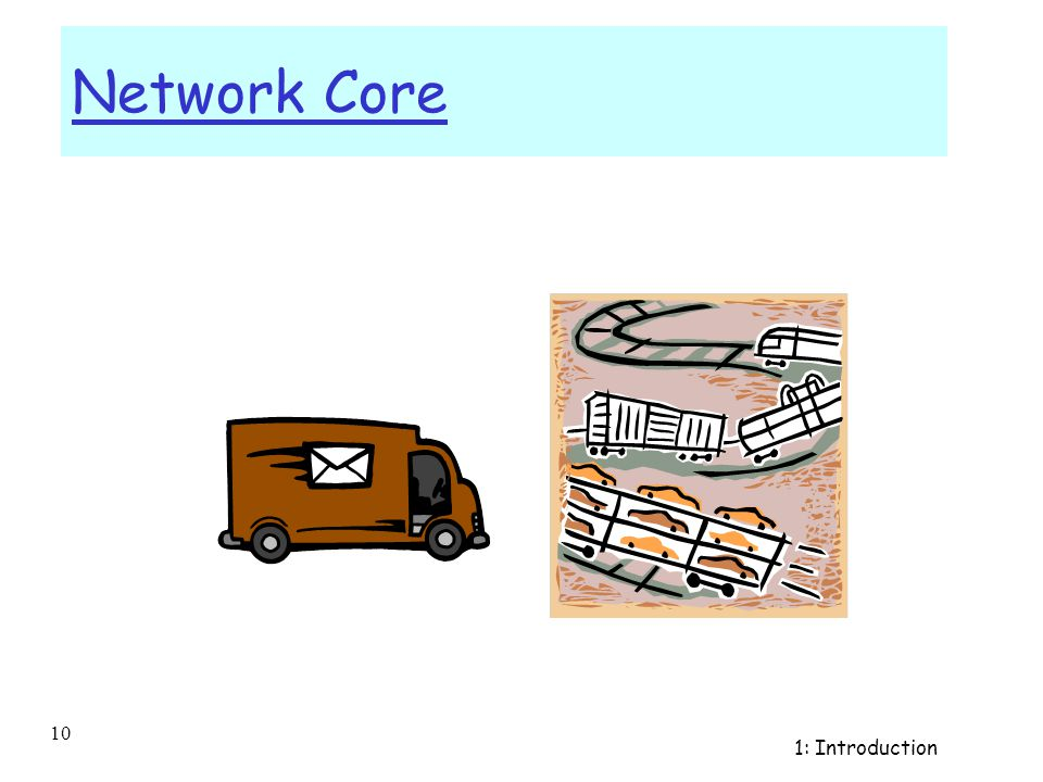 Introduction 1-9 The Network Core r mesh of interconnected routers r fundamental question: how is data transferred through net.