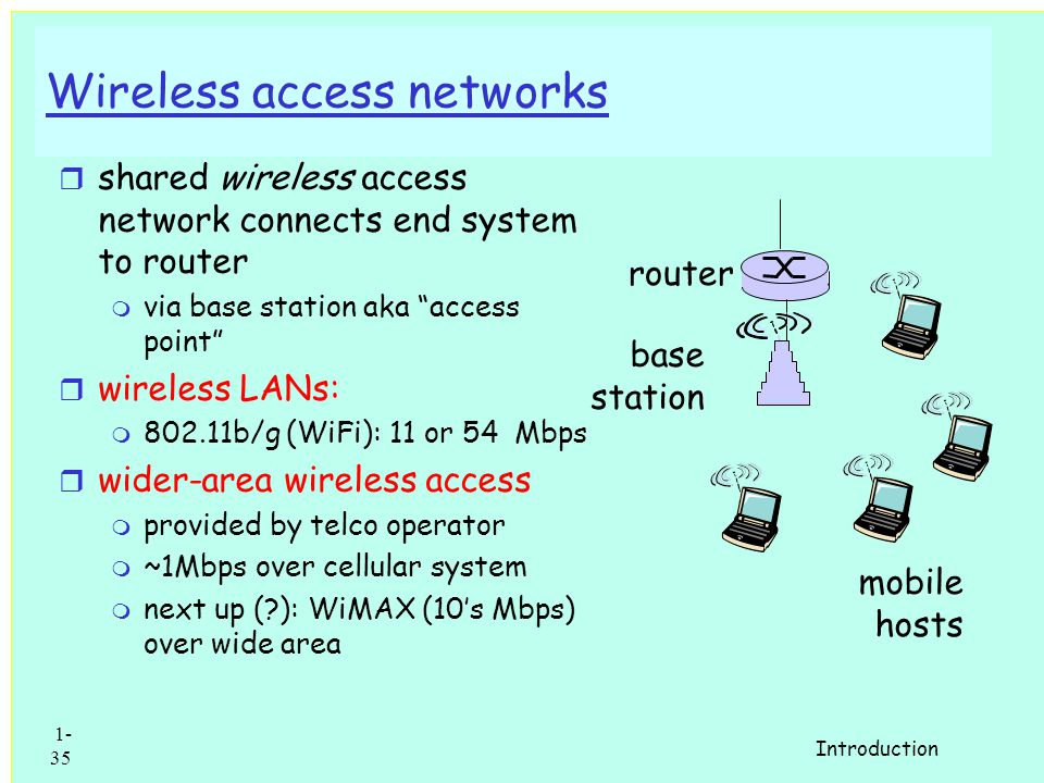 1: Introduction 34 Institutional access: local area networks r company/univ local area network (LAN) connects end system to edge router r E.g.