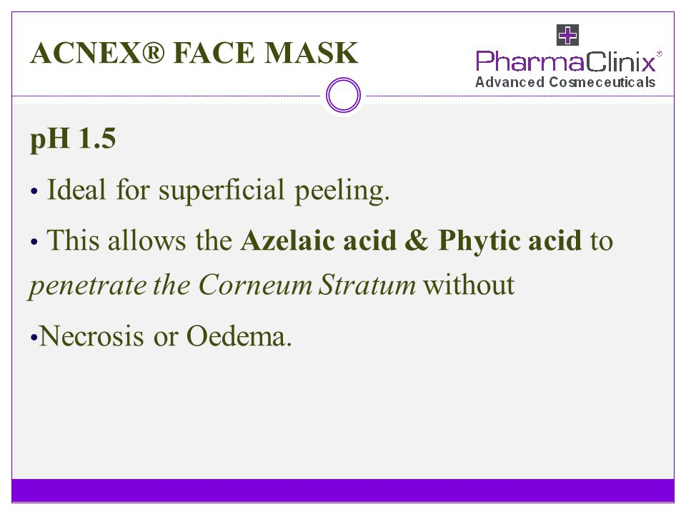 ACNEX® FACE MASK pH 1.5 Ideal for superficial peeling. This allows the Azelaic acid & Phytic acid to penetrate the Corneum Stratum without Necrosis or