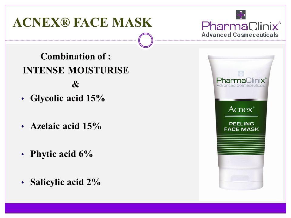 ACNEX® FACE MASK Combination of : INTENSE MOISTURISE & Glycolic acid 15% Azelaic acid 15% Phytic acid 6% Salicylic acid 2%