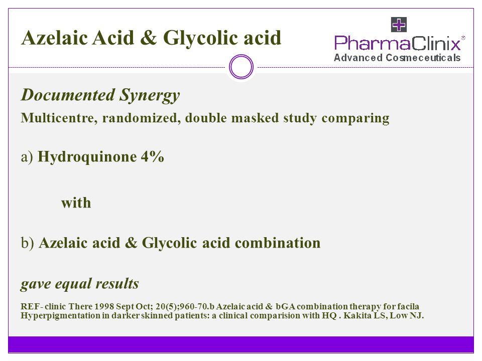 Azelaic Acid & Glycolic acid Documented Synergy Multicentre, randomized, double masked study comparing a) Hydroquinone 4% with b) Azelaic acid & Glyco