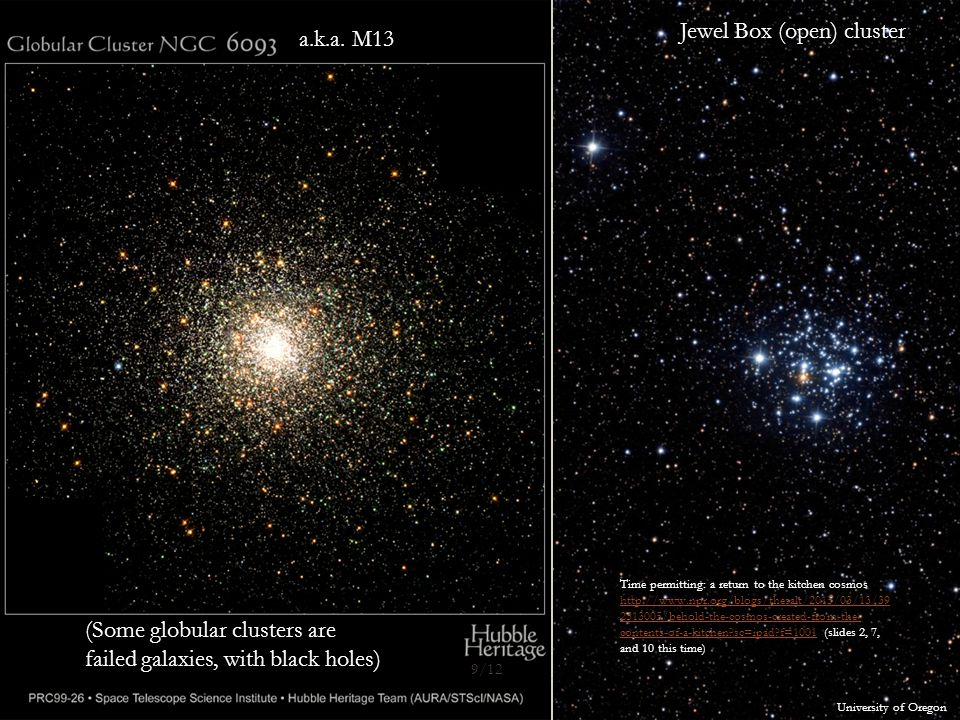 (Some globular clusters are failed galaxies, with black holes) Jewel Box (open) cluster University of Oregon a.k.a.