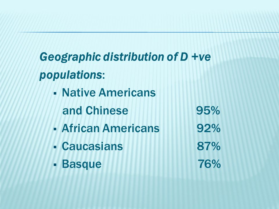 Geographic distribution of D +ve populations:  Native Americans and Chinese 95%  African Americans 92%  Caucasians 87%  Basque 76%