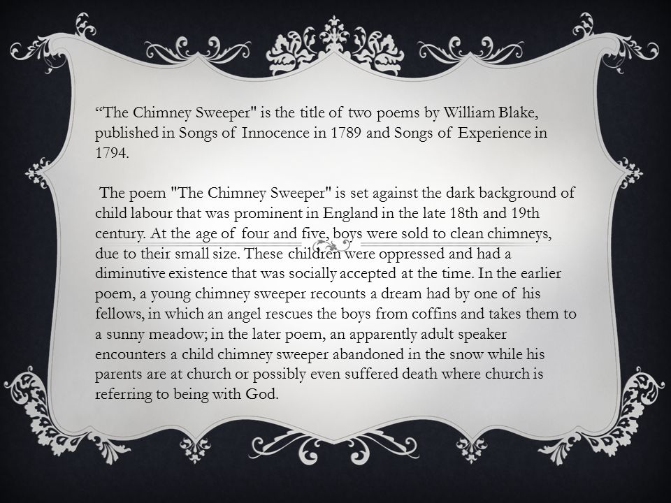 analysis of william blakes the chimney sweeper