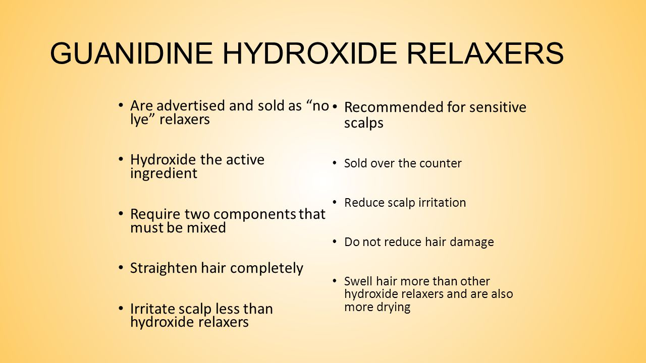 METAL HYDROXIDE RELAXERS These are ionic compounds formed by a metal that is combined with oxygen and hydrogen. Metal hydroxide relaxers include: Sodi