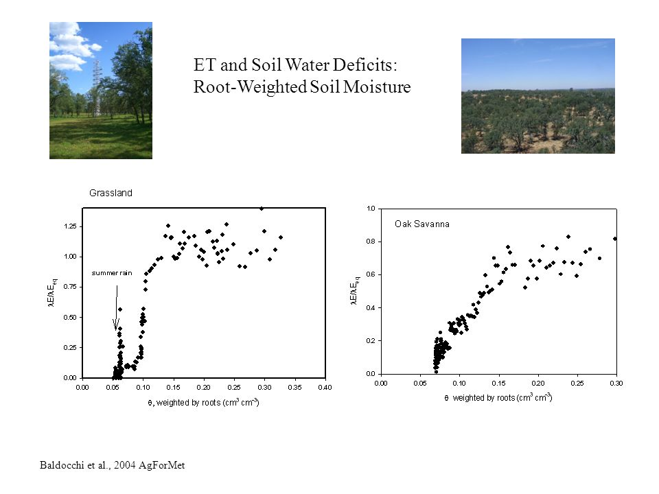 ET and Soil Water Deficits: Root-Weighted Soil Moisture Baldocchi et al., 2004 AgForMet