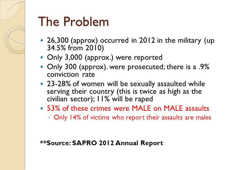The Problem 26,300 (approx) occurred in 2012 in the military (up 34.5% from 2010) Only 3,000 (approx.) were reported Only 300 (approx). were prosecute