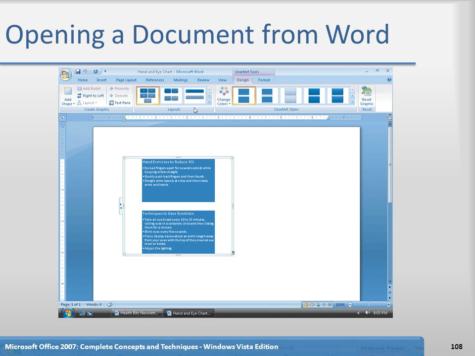 Opening a Document from Word Microsoft Office 2007: Complete Concepts and Techniques - Windows Vista Edition108