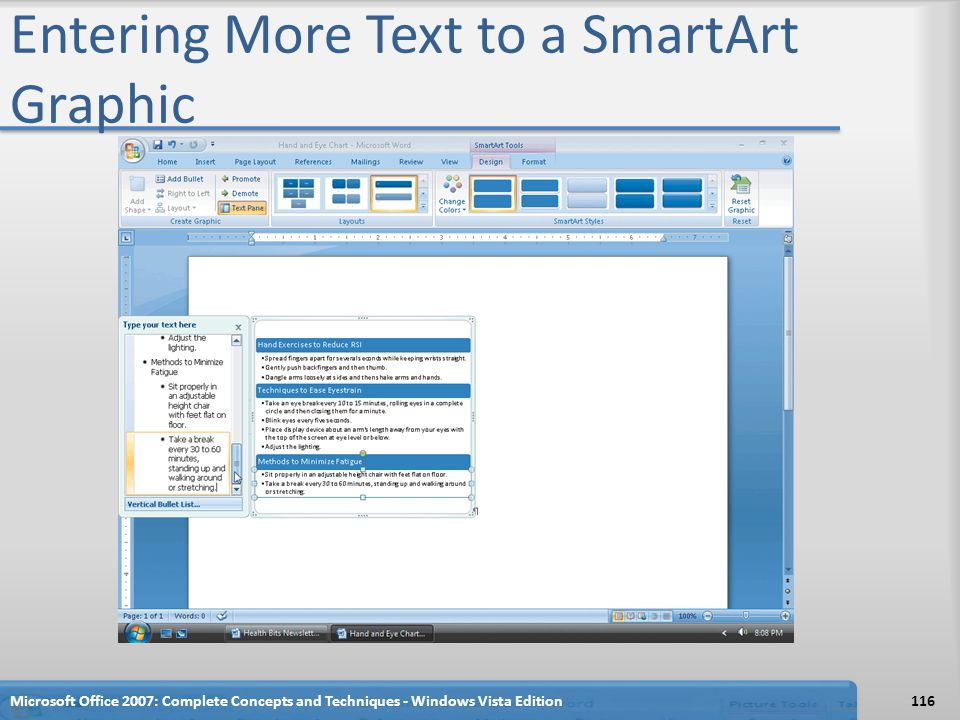 Entering More Text to a SmartArt Graphic Microsoft Office 2007: Complete Concepts and Techniques - Windows Vista Edition116