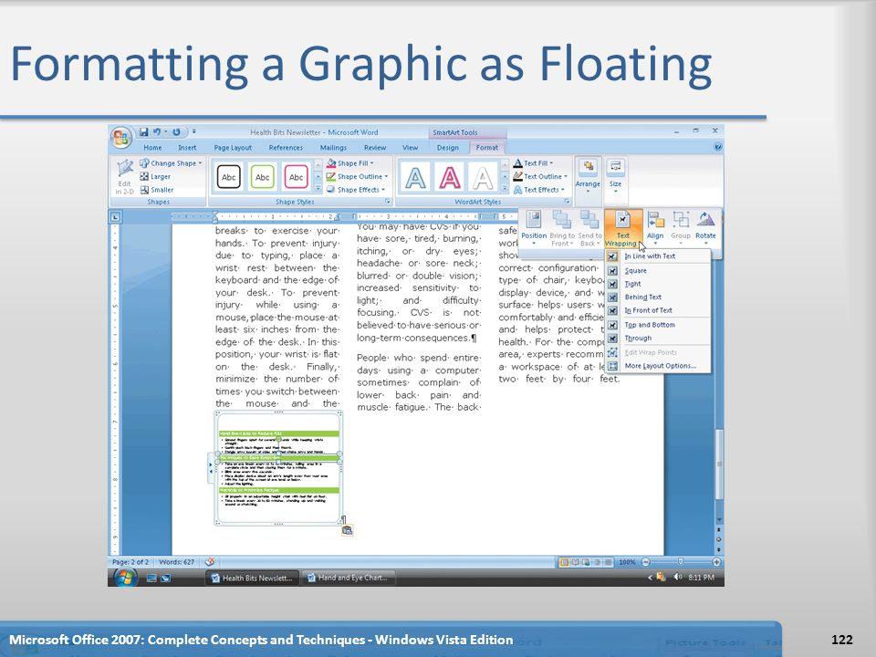 Formatting a Graphic as Floating Microsoft Office 2007: Complete Concepts and Techniques - Windows Vista Edition122