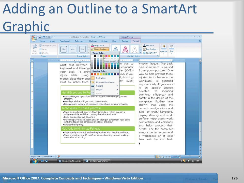 Adding an Outline to a SmartArt Graphic Microsoft Office 2007: Complete Concepts and Techniques - Windows Vista Edition126