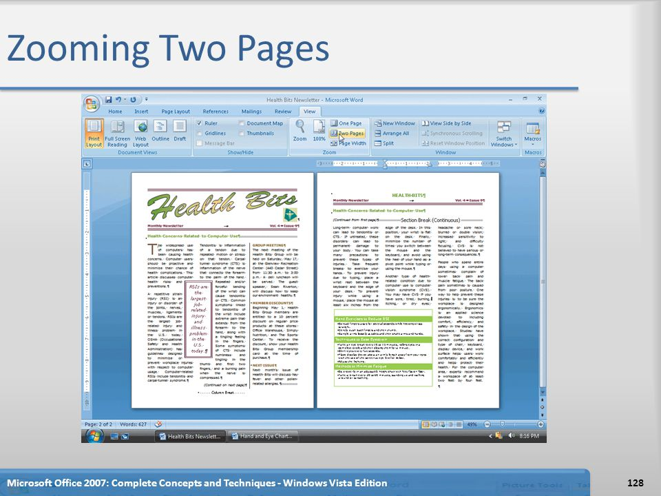 Zooming Two Pages Microsoft Office 2007: Complete Concepts and Techniques - Windows Vista Edition128