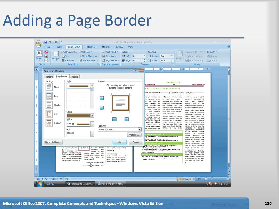 Adding a Page Border Microsoft Office 2007: Complete Concepts and Techniques - Windows Vista Edition130